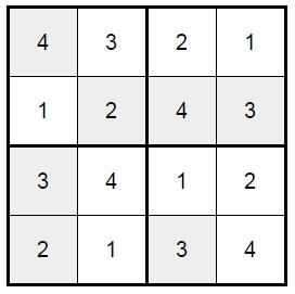 סודוקו 4X4 לילדים -1 פתרון