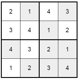 סודוקו 4X4 לילדים -2 פתרון