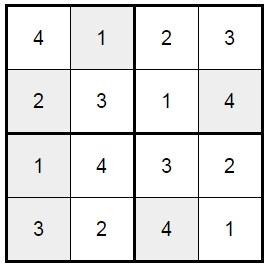 סודוקו 4X4 לילדים -3 פתרון