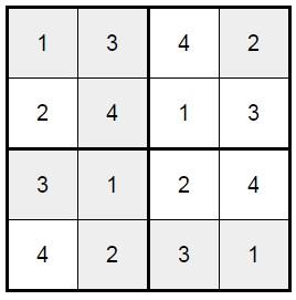 סודוקו 4X4 לילדים -4 פתרון