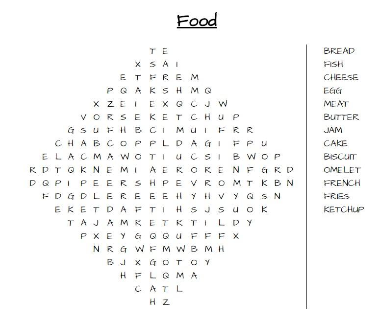 תצרף מילים הקשורות למזון באנגלית